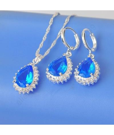 Juego De Plata Gota Azul /collar