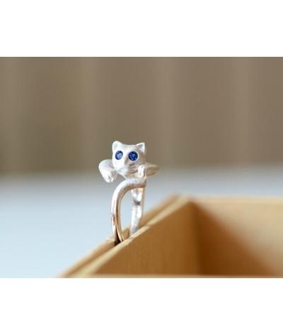 Anillo En Baño De Plata 925 Gato Cristal Azul