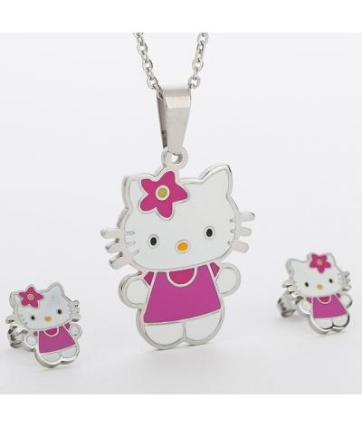 Juego De Acero Inoxidable, Aretes, Collar Hello Kitty Joyas