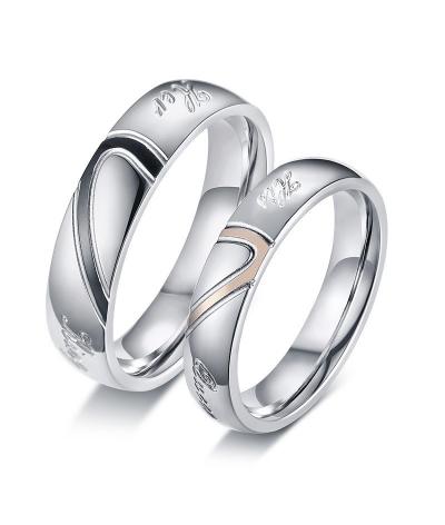 Argollas de matrimonio corazones en acero inoxidable