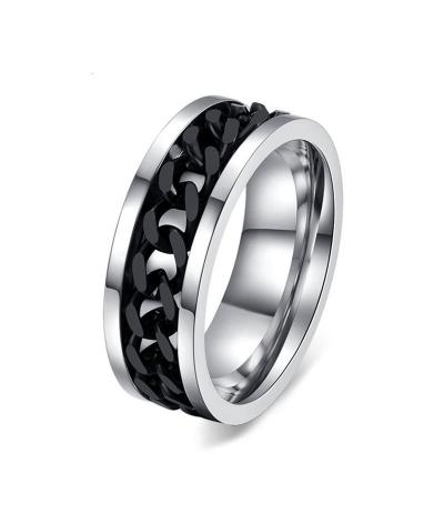 Anillo para hombre en acero inoxidable con spinner ondulado negro