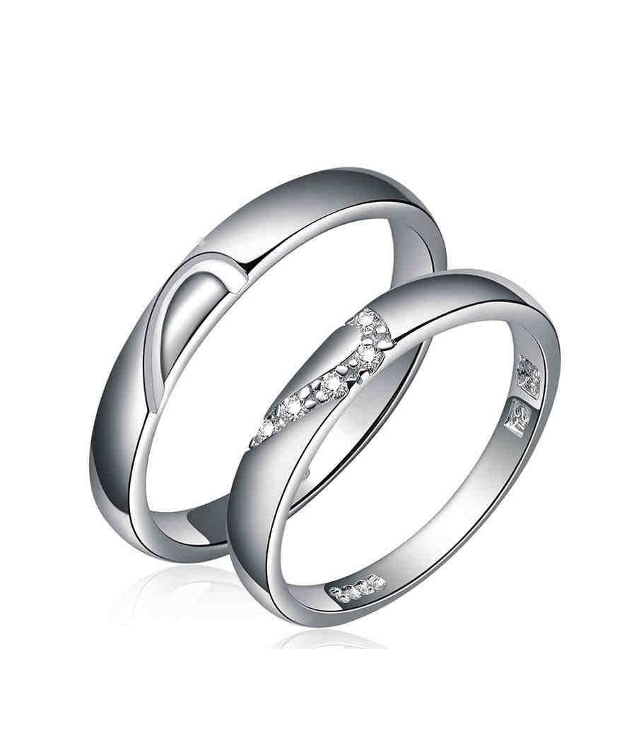 Anillos de matrimonio plateados corazón en plata