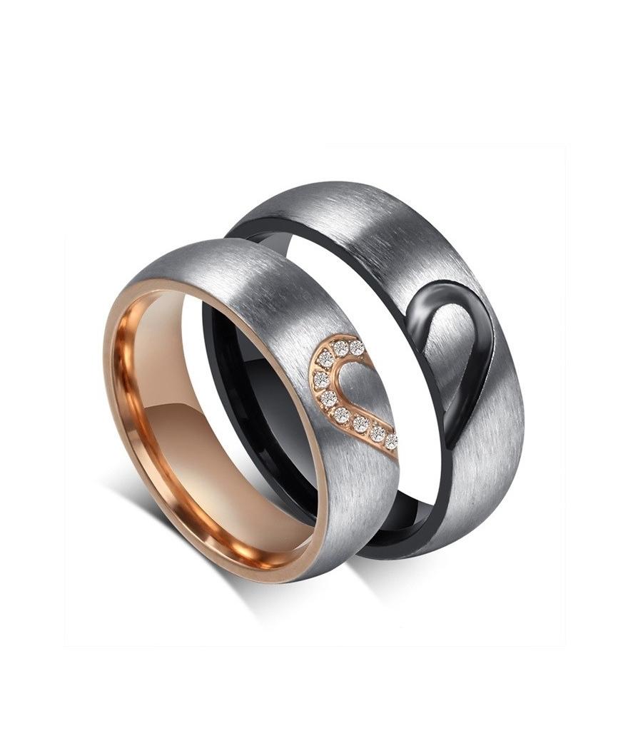 Argollas de matrimonio corazón en acero inoxidable