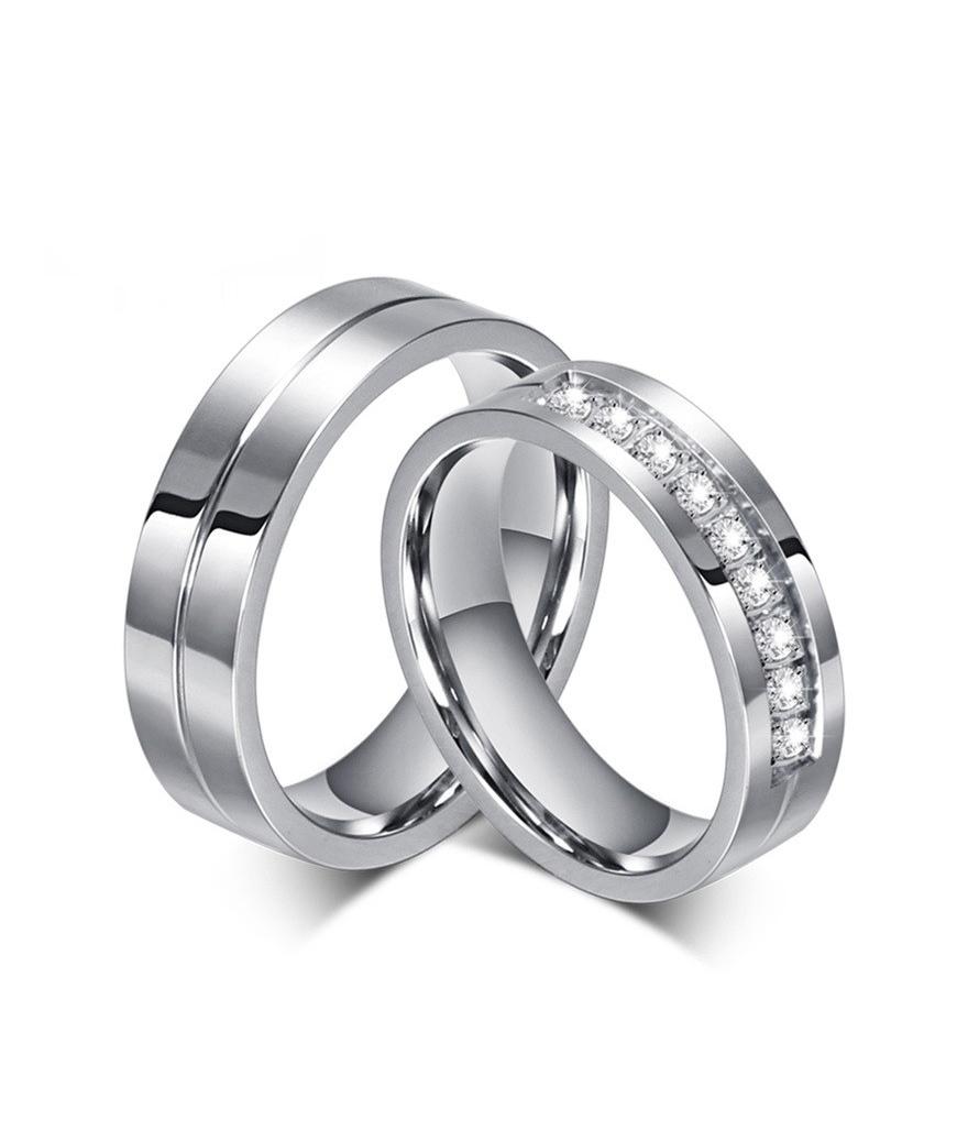 Argollas de matrimonio con zirconias en acero inoxidable