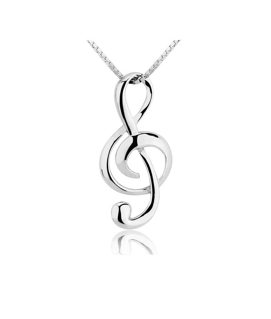 Collar Nota Musical En Plata