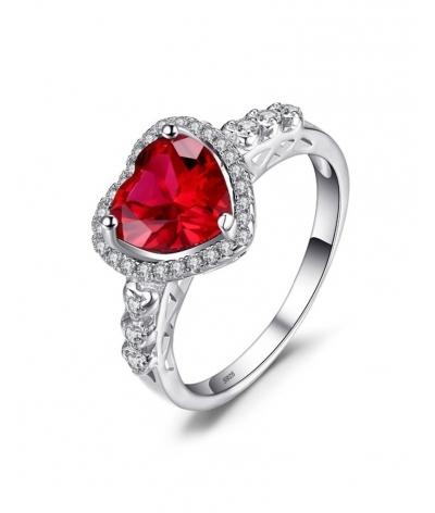 Anillo de compromiso de corazón rojo en plata