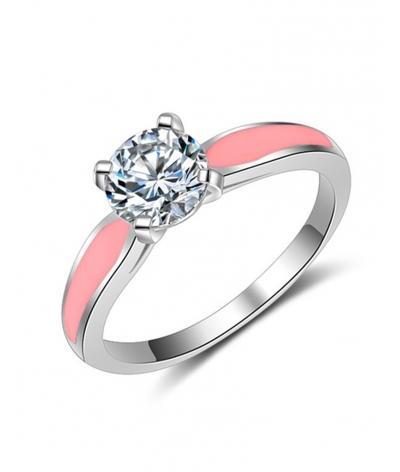 Anillo de compromiso detalles rosa en plata