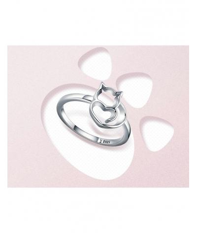 Anillo silueta de gato en plata