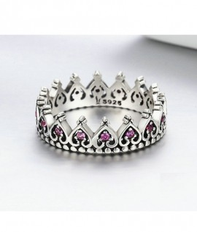 Anillo corona rosada vintage en plata