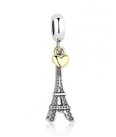 Dije con collar Torre Eiffel París en plata