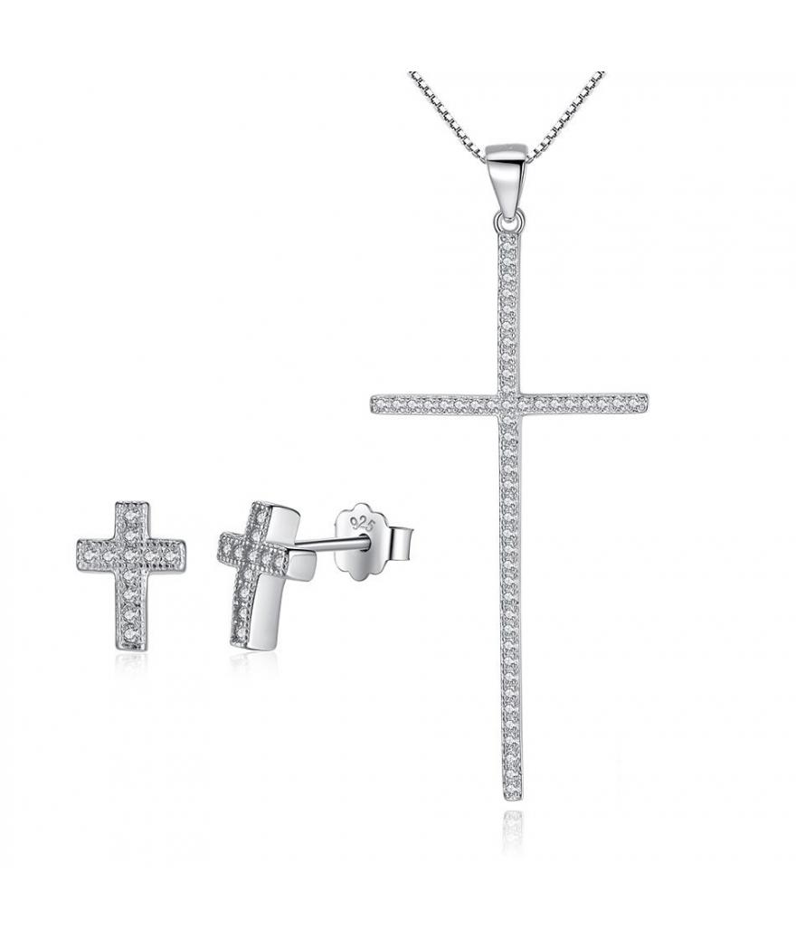 Juego en plata de cruz con zirconias