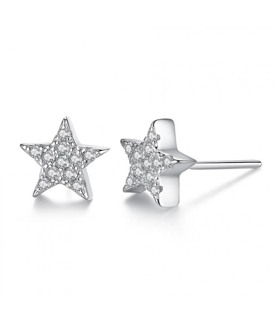 Aretes topitos estrella en plata