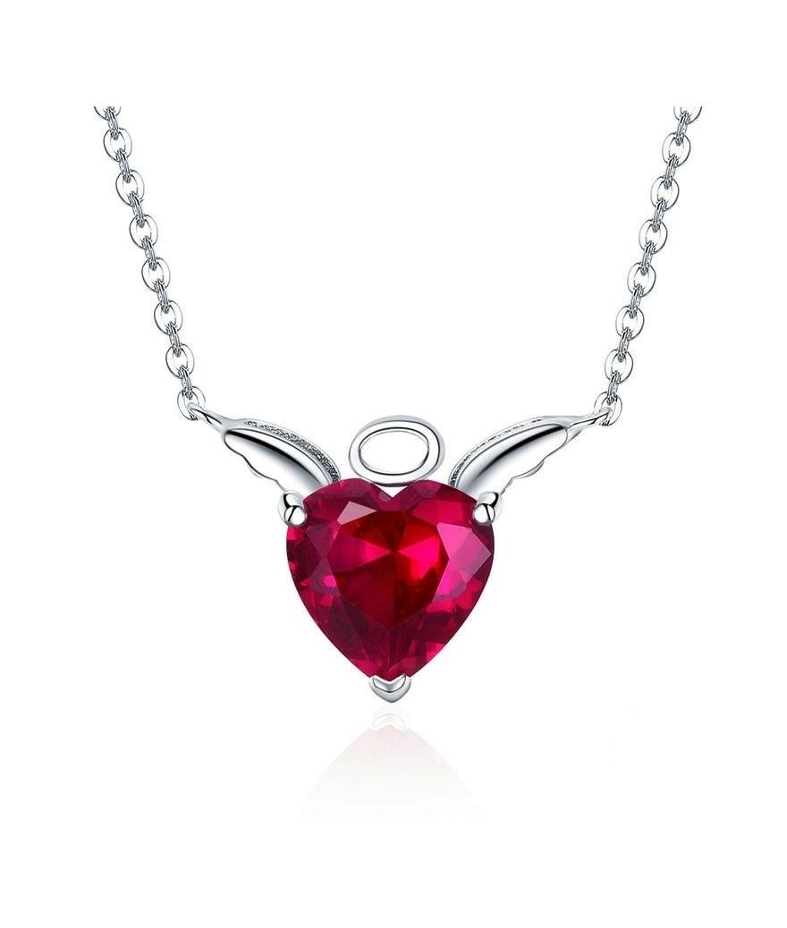 Juego de plata corazón alas de ángel con collar y aretes