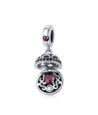 Dije con collar perla de corazón en plata