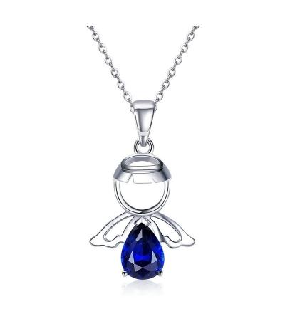 Dije angelito zirconia azul en plata