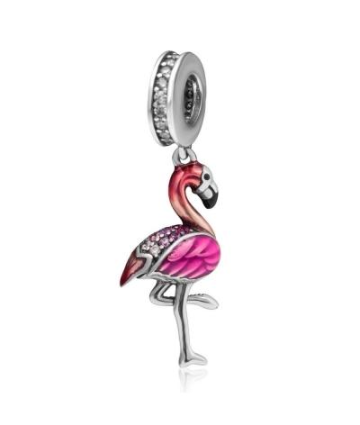 Dije con collar de flamenco rosa con zirconias en plata