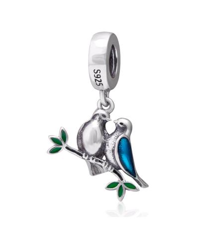 Dije y collar pareja de pajaritos enamorados en plata