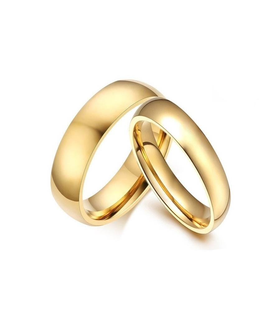 Argollas de matrimonio doradas en acero inoxidable