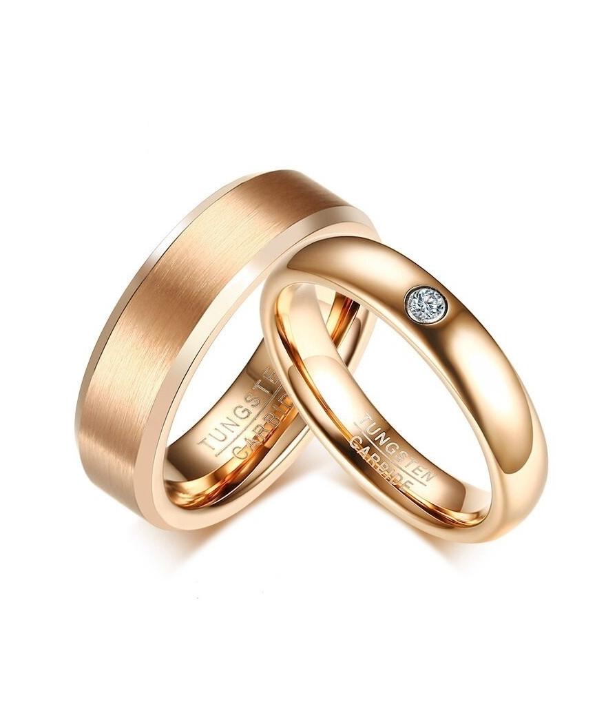 Argollas De Matrimonio En Tungsteno Color Oro Rosa