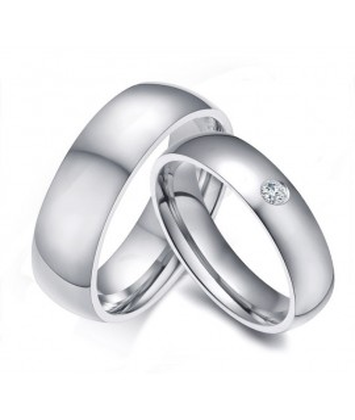 Argollas De Matrimonio Plateadas en acero inoxidable