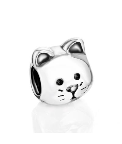 Dije con collar carita de gato tierno en plata