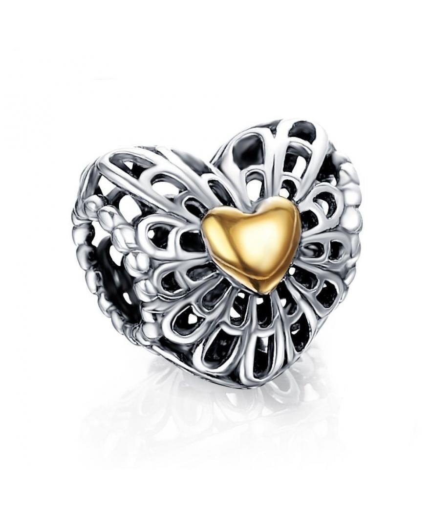 Dije con collar corazones de amor en plata