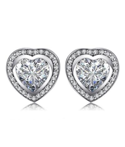 Aretes topitos corazón de cristal en plata