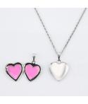 Collar relicario corazón personalizable grabado texto en acero inoxidable