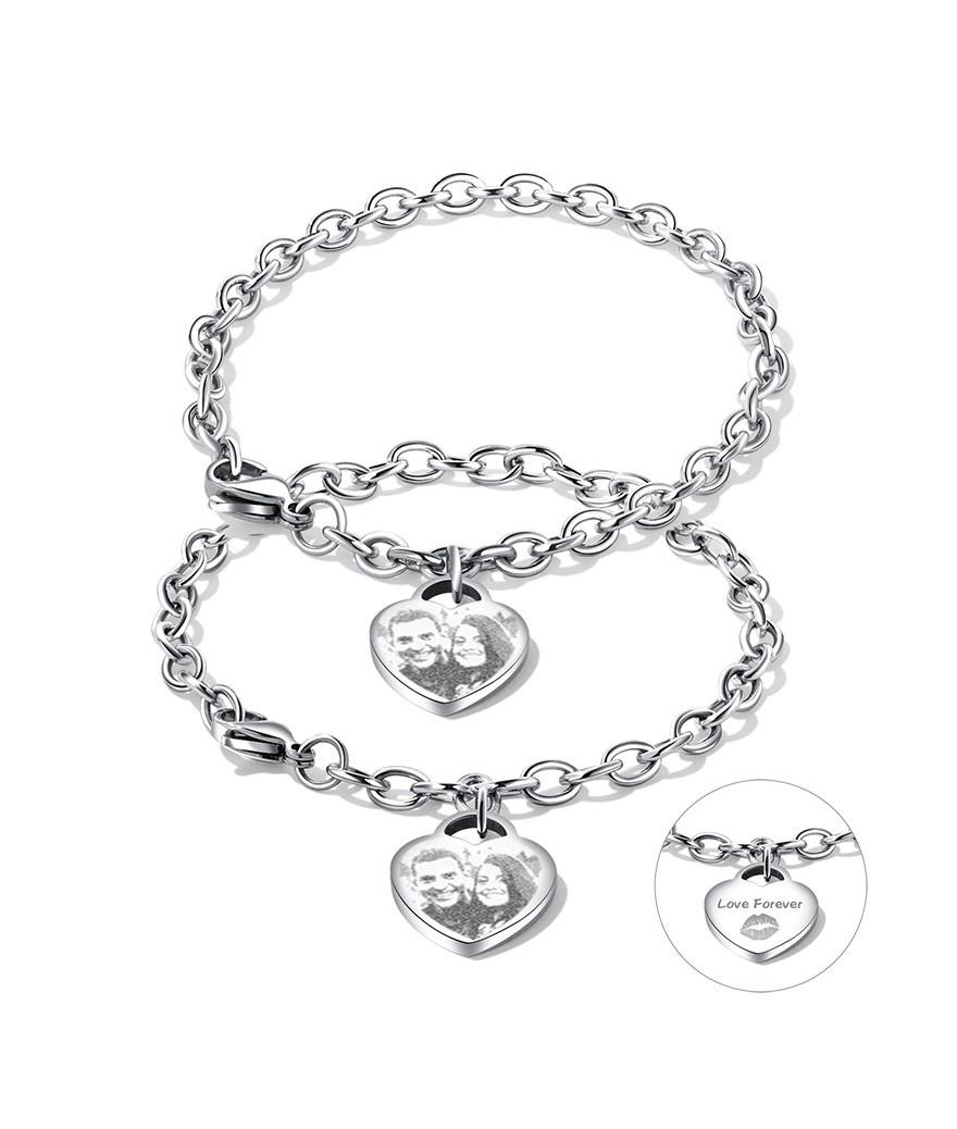 Brazaletes pulseras para pareja corazón personalizable en acero inoxidable