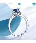 Anillo de compromiso mar azul en plata