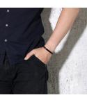 Brazaletes negros para parejas grabados en acero inoxidable