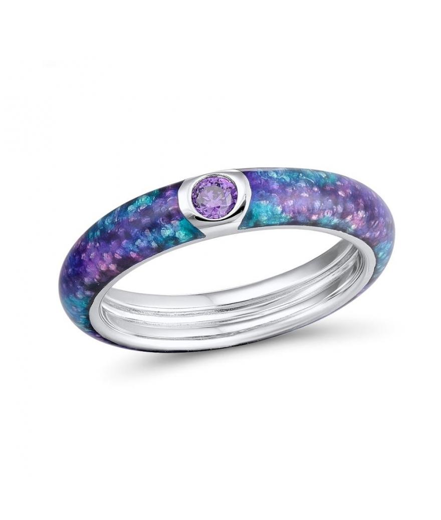 Anillo de eternidad púrpura en plata