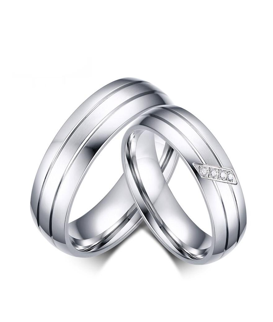 Argollas de matrimonio franjas deluxe en acero inoxidable