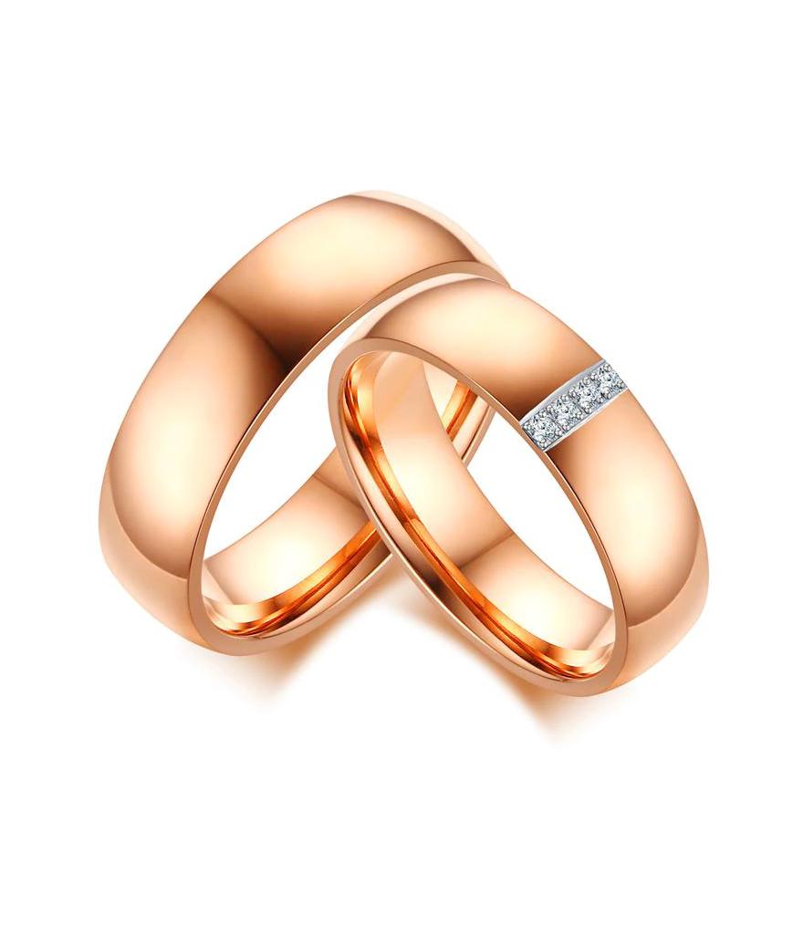 Argollas de matrimonio color rosado en acero inoxidable