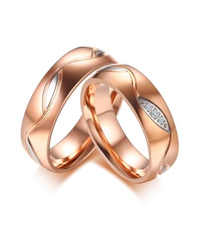 Argollas de matrimonio naturaleza color rosado en acero inoxidable