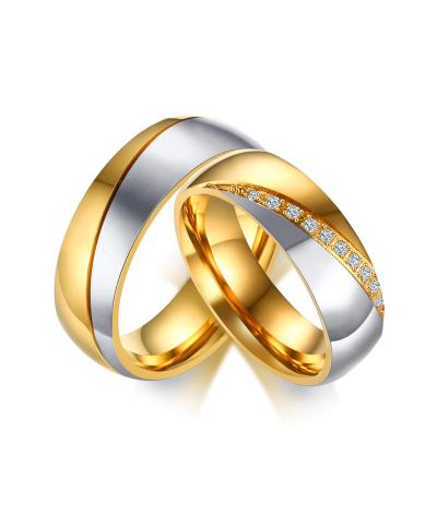 Argollas de matrimonio dorado y plateado en acero inoxidable