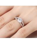Anillo de compromiso eternidad banda doble en plata