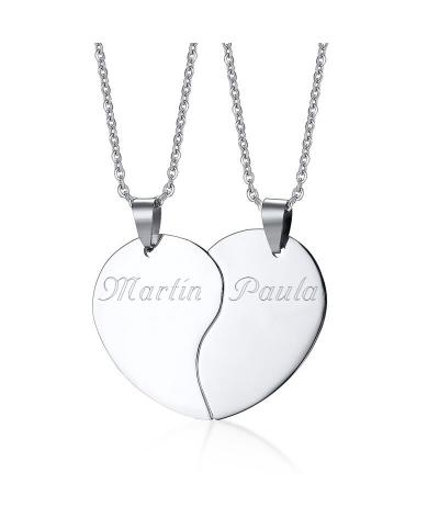 Dijes para pareja personalizables en forma de corazón en acero inoxidable