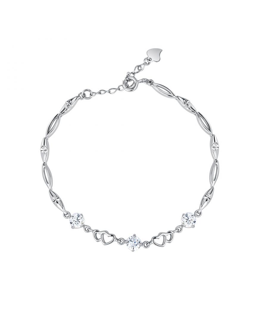Manilla para mujer corazones envolventes en plata