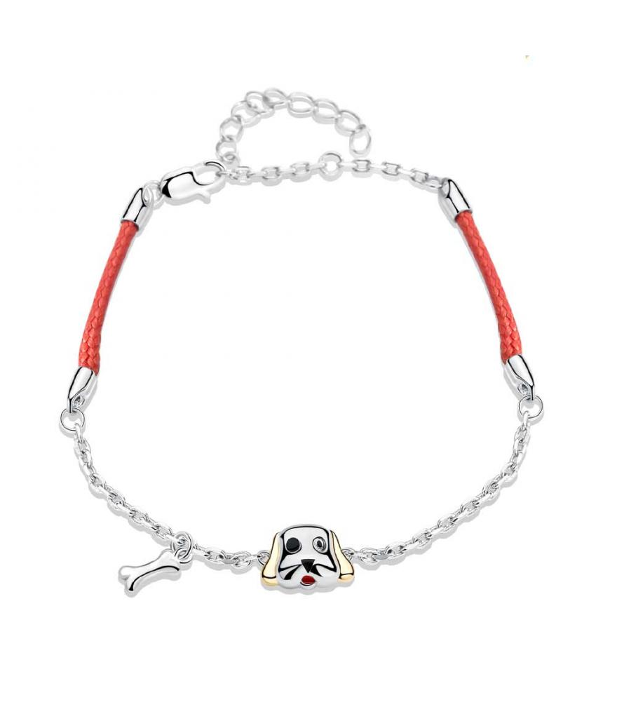 Manilla para mujer amante de los perros en plata