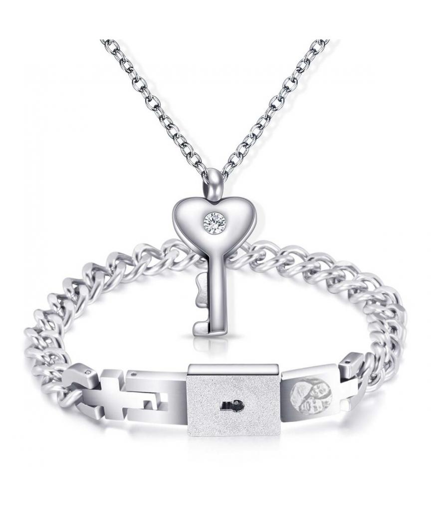 Manilla y dije Love Lock personalizable para pareja en acero inoxidable