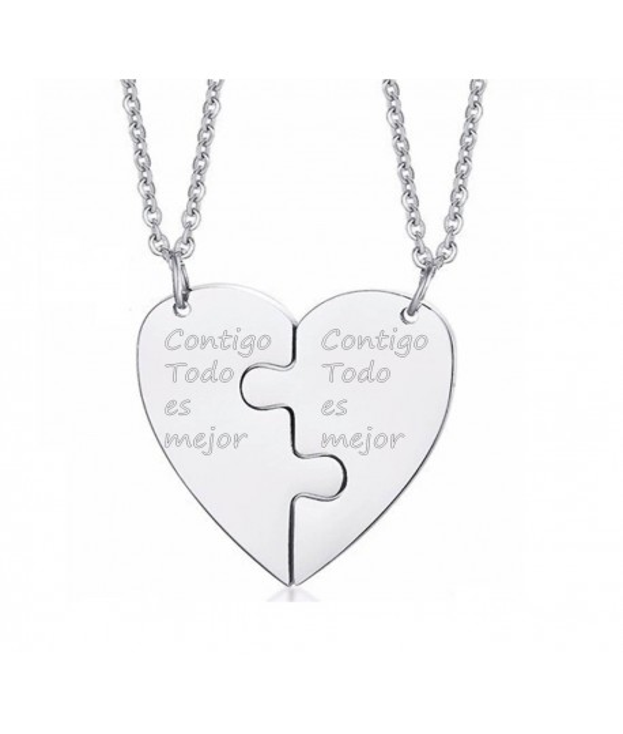 Collares para pareja personalizables rompecabezas de corazón en acero inoxidable