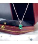 Collar de plata con esmeralda oval