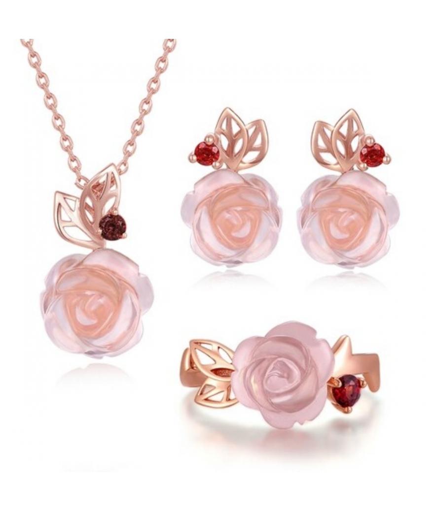 Juego en plata rosa primaveral de cuarzo