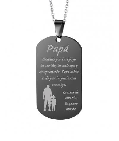 Regalo para papá creativo placa grabada en collar en acero inoxidable