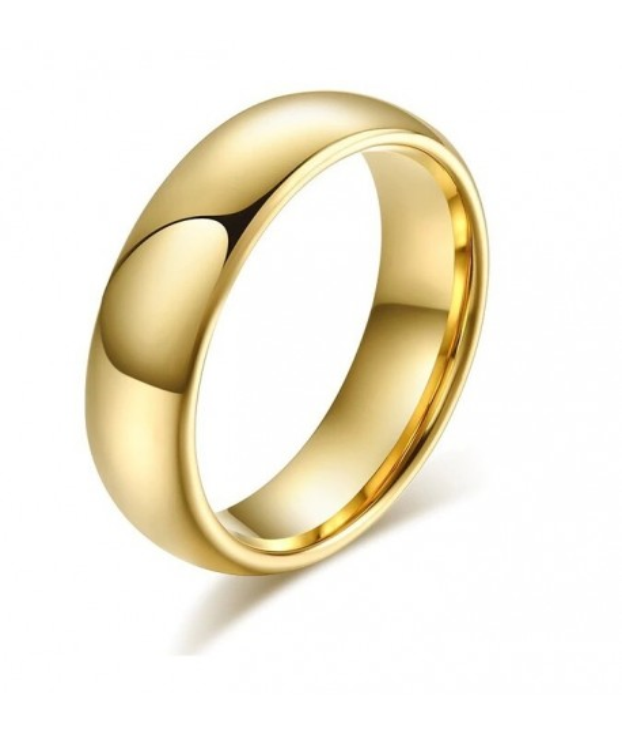 Argolla para hombre dorada en tungsteno