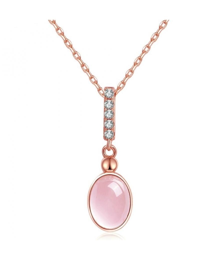 Collar con dije oval de cuarzo rosa en plata