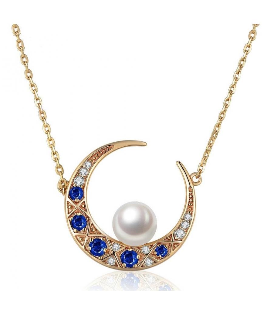 Collar con dije perla de luna en plata