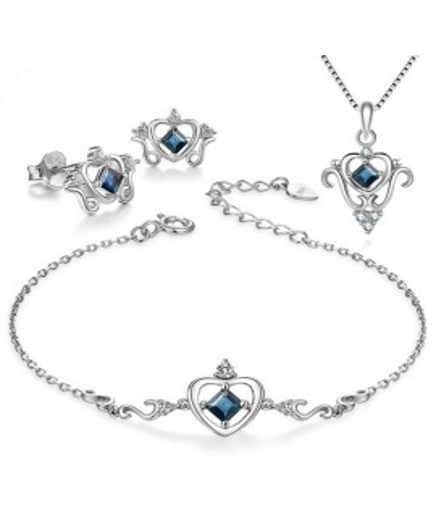 Set de plata corona de zafiro