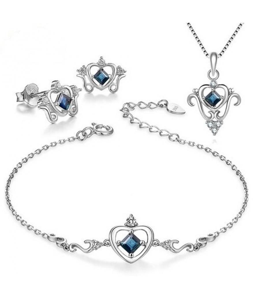 Set de plata corazón de cuarzo